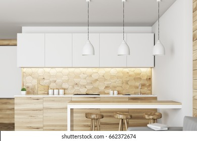 Luxury kitchen interior with white and wooden walls, countertops with built in appliances, a bar table and a row of stools. 3d rendering mock up
