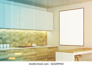 Luxury kitchen interior with white and wooden walls, countertops with built in appliances, a bar table and a stools. Framed vertical poster. Side. 3d rendering mock up toned image double exposure