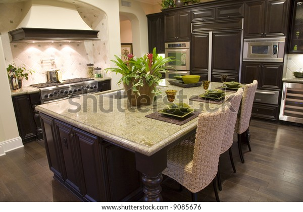 Luxury Kitchen Modern Granite Island Stock Photo Edit Now 9085676