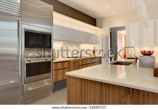 Luxury Kitchen Stainless Steel Appliances Wood Stock Photo ...