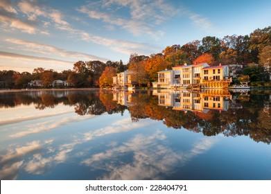 Luxury Lakefront Townhomes Lake Anne Autumn Landscape Reston Virginia