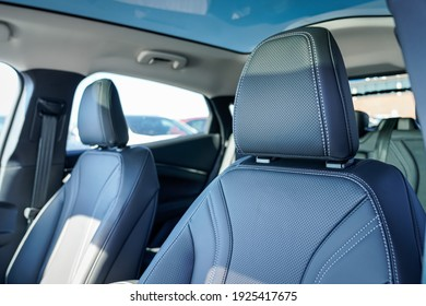 Luxury leather headrest and seats in a new car