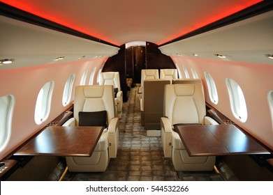 luxury leather interior in the modern  business jet and empty the porthole