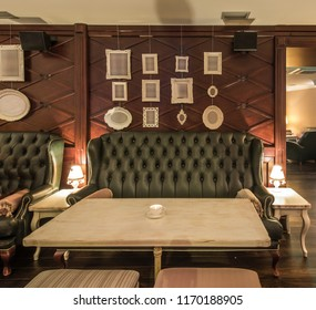 Luxury leather sofa in restaurant interior