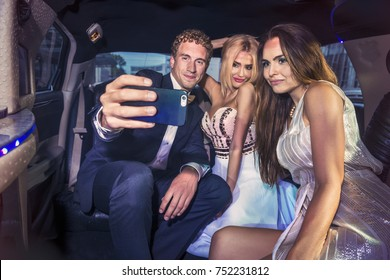 the luxury lifestyle of a successful young generation in a limousine