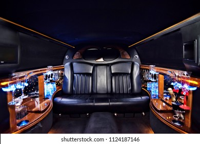 luxury limousine interior party champagne colorful leather beautiful ceremony