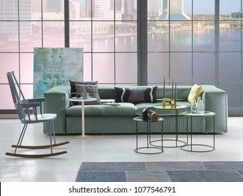 luxury living room and apartment style with forest view. luxury furniture modern sofa bookcase and chair concept.
