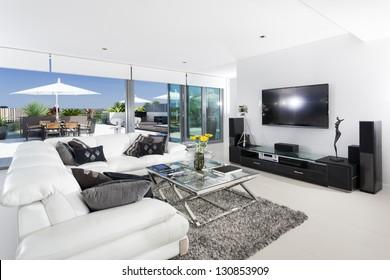 Luxury living room and balcony