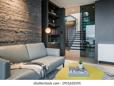 Luxury living room den and recreation room in west vancouver home - Shutterstock ID 1951633195