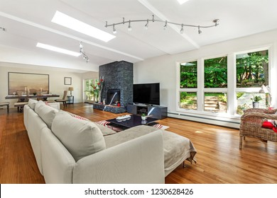 Luxury living room with flat TV and fireplace, bright daylight, big windows, white walls, dining room.