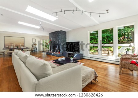 Luxury Living Room With Flat TV And Fireplace Bright Daylight Big Windows White
