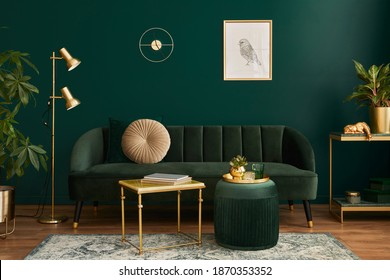 Luxury living room in house with modern interior design, green velvet sofa, coffee table, pouf, gold decoration, plant, lamp, carpet, mock up poster frame and elegant accessories. Template.  - Shutterstock ID 1870353352