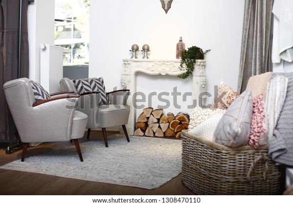 Luxury Living Room Modern Interior Cabinet Stock Image ...
