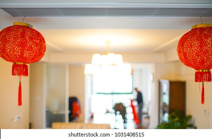 luxury living room with nice decoration of Chinese lantern