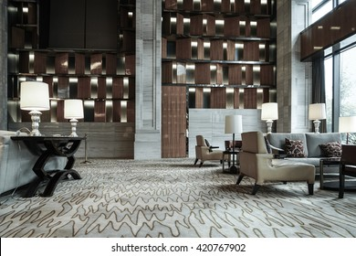 Luxury lobby interior.With crystal lamp,bing hall, marble floor, french sash,mosaic tile,comfortable sofa, etc.