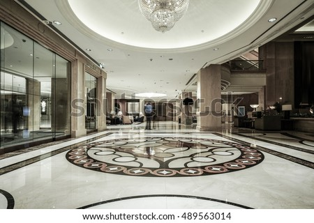Luxury Lobby Interior With Crystal Lampbing Hall Stock