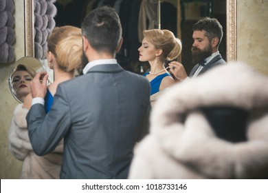 Luxury love. gorgeous young woman while her man is putting a necklace around her neck love care passion affection valentine's gifts relationship happiness couple