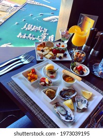luxury lunch brunch at the rooftop with the beautiful yacht club view