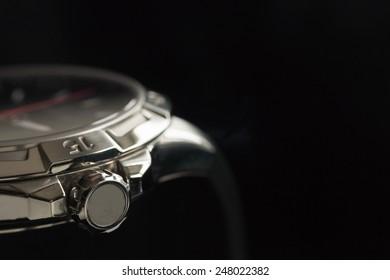 luxury man accessory watch detail, chronograph macro