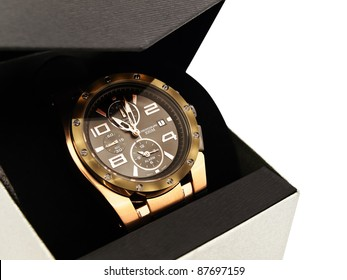 luxury man clock in gift box against white background