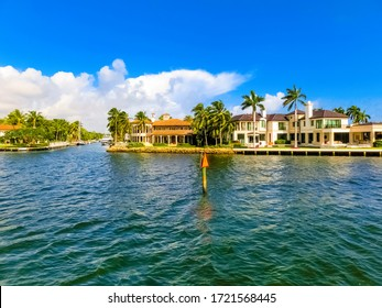 Luxury mansion in exclusive part of Fort Lauderdale at USA known as small Venice. View from channel