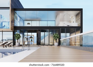 Luxury mansion exterior with glass and wooden walls and a large swimming pool on a skyscraper roof. 3d rendering