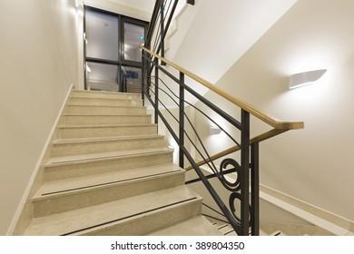 Luxury Marble Stairs In Hotel Lobby