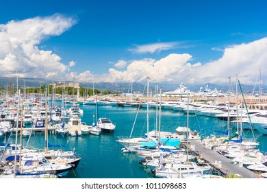 luxury marina in Antibes on french riviera, cote d'azur, France