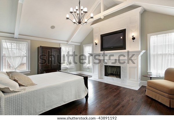 Luxury Master Bedroom Fireplace Stock Photo (Edit Now) 43891192