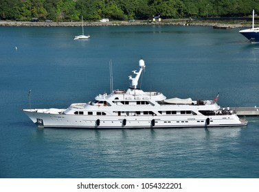 Luxury megayacht in Caribbean port side view