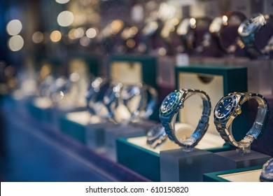 Luxury men watches in a store in London.