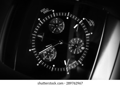 Luxury mens Chronograph Watch made of high-tech ceramics with sapphire glass. Close-up black and white studio photo with selective focus