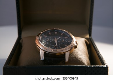 luxury men's watch in a gift box