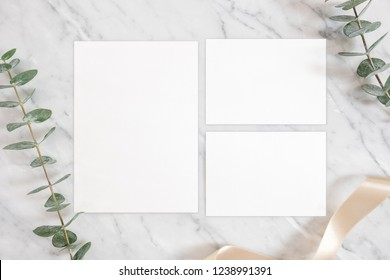 Luxury Mockup template with white marble background and design element design for wedding invitation, rsvp, thank you card, greeting, Flat lay, Top View