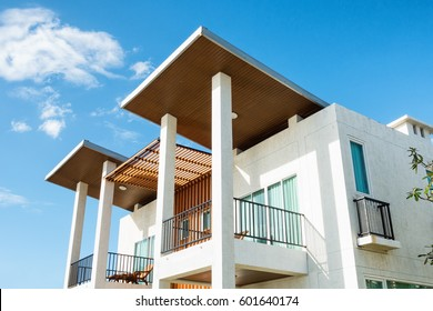 Luxury modern house at sunny day.
