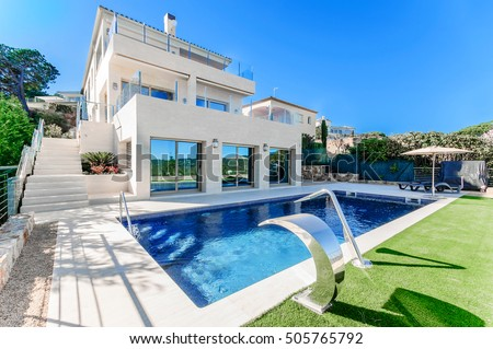 Luxury home swimming pools Build In Luxury Modern House With Swimming Pool With Waterfall Jet House Marble Shutterstock Luxury Modern House Swimming Pool Waterfall Stock Photo edit Now