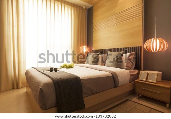 Luxury Modern Japanese Style Bedroom Stock Photo (Edit Now ...