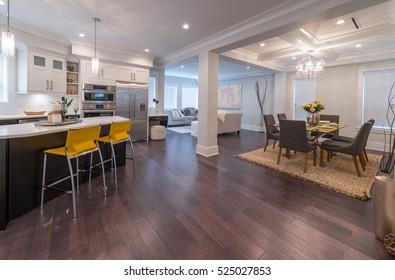 Luxury modern kitchen and dining room, area. Interior design