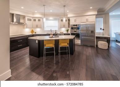 Luxury modern kitchen and dining room, area. Interior design.