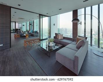 modern interior design room panoramic windows の写真素材 今すぐ