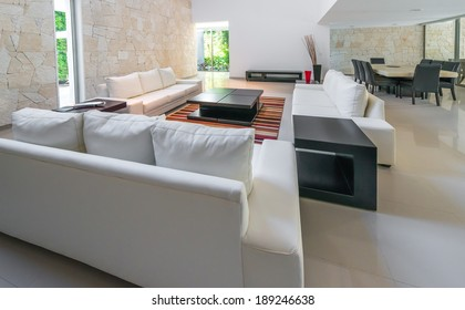 Luxury modern living suite : lounge, living room and dining room at the back. Interior design.g