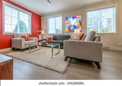 Luxury modern living suite with red color walls, room with sofa and chairs and nicely decorated with vase coffee table. Interior design of a brand new house.