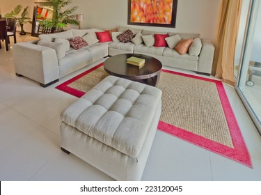Luxury modern living suite,  room with sofa and pillows and nicely decorated coffee table. Interior design of a brand new house.