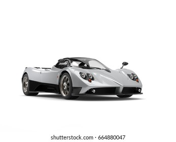 Luxury modern sports car - silver with black side panels - 3D Illustration
