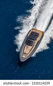 luxury motor boat in navigation, in formentera, spain