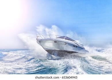 luxury motor boat in navigation, innovazionieprogetti  italian shipyard