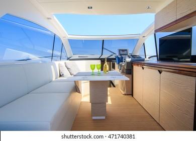 luxury motor boat, rio yachts italian shipyard, dinner relax