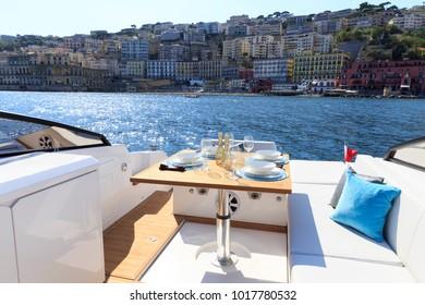 luxury motor boat table setting for dinner