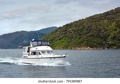 Luxury motor launch cruising in Queen Charlotte Sound, Marlborough, New Zealand