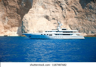 Luxury motor yacht and beautiful landscape